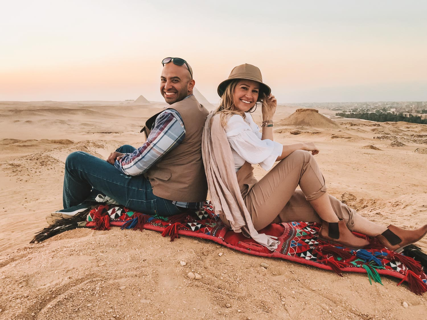 tour guide and blonde in egypt