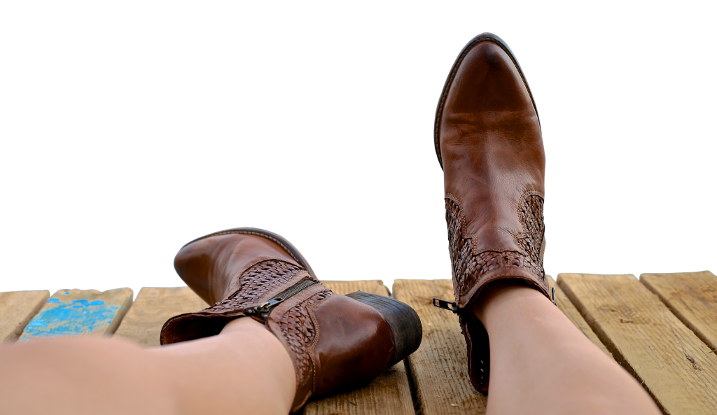 Brown decorative boots