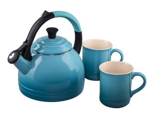 LeCreuset tea kettle and cups